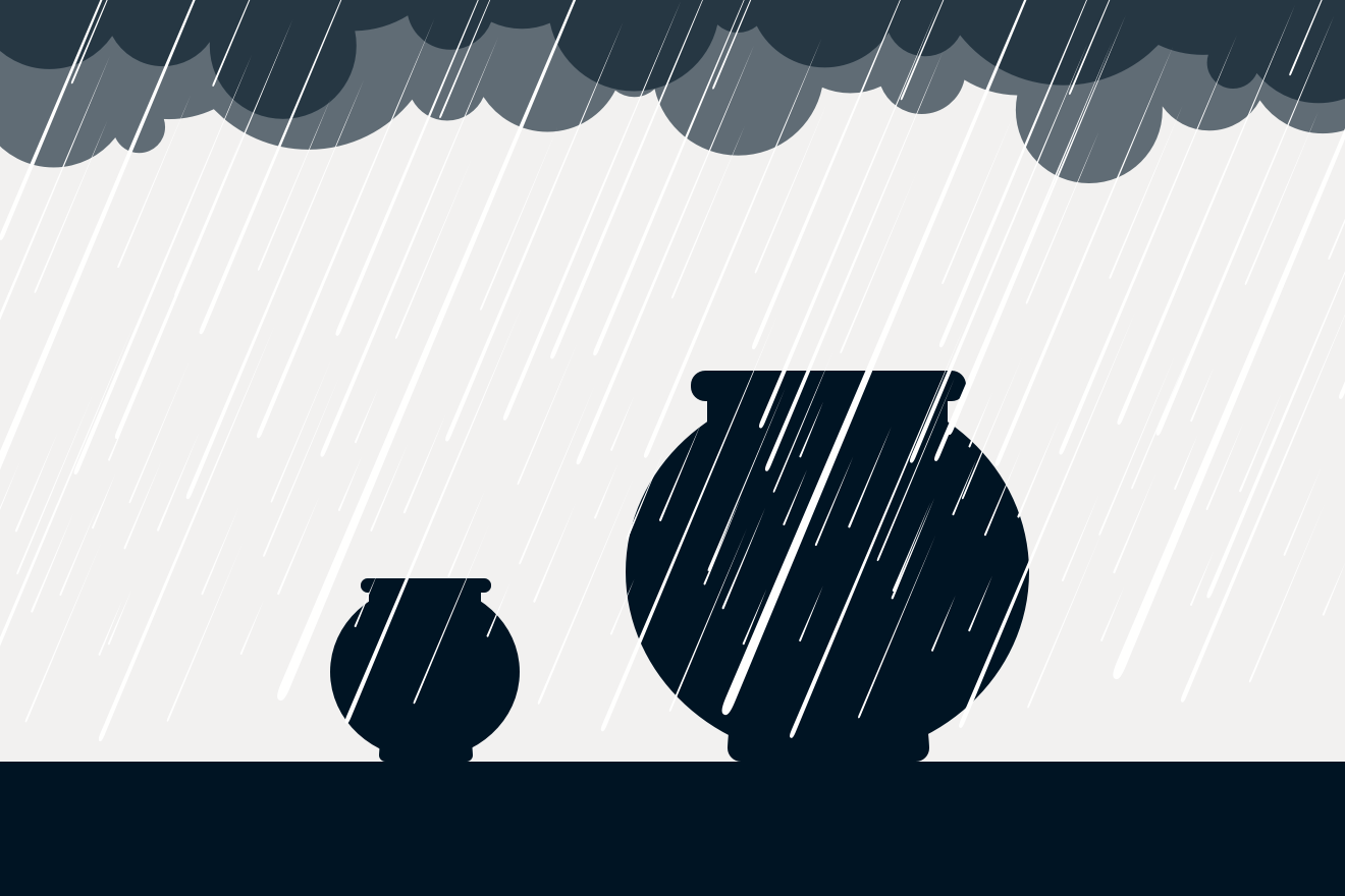 Graphic showing a small and a big vase with rain pouring down on them.
